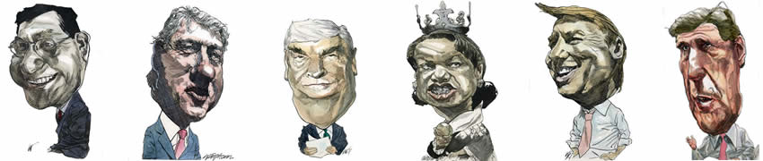 Caricatures of political personalities by Kerry Waghorn