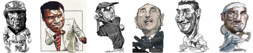 Caricatures of sport personalities by Kerry Waghorn
