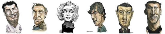 Actors Caricatures by Kerry Waghorn