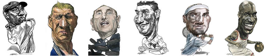 Sports Caricatures by Kerry Waghorn