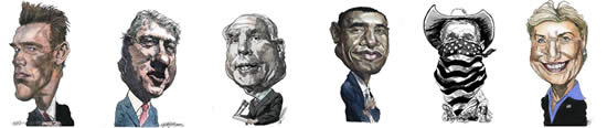 US Political Caricatures by Kerry Waghorn