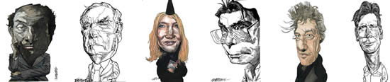 Writers & Artists Caricatures by Kerry Waghorn