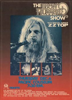 1971 Leon Russell with ZZ Top concert poster